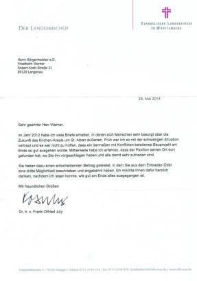 Brief Landesbischof