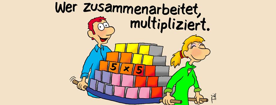 Zusammenarbeit Cartoon